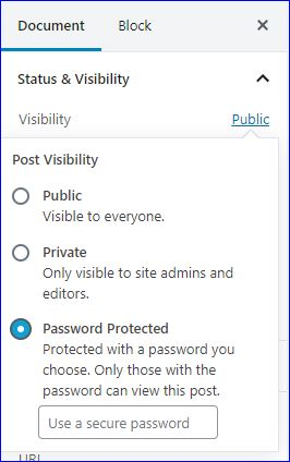 Screenshot of WordPress settings on a post to password protect