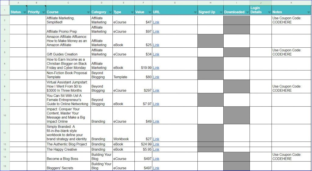 Screenshot sample of the Genius Blogger's Toolkit spreadsheet