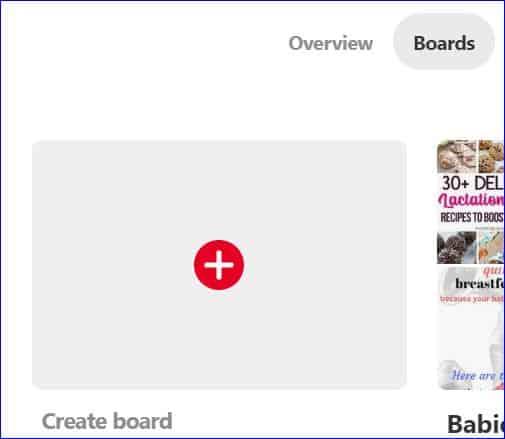 Adding a board to Pinterest screenshot