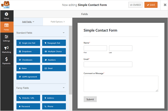 Sample contact form with WPForms