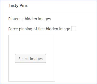 "WP Tasty Pins plugin screenshot of where to select images to ""hide"" on a blog post"