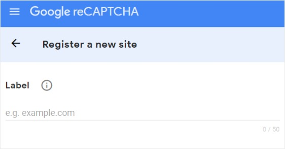 New site registration with reCAPTCHA screenshot