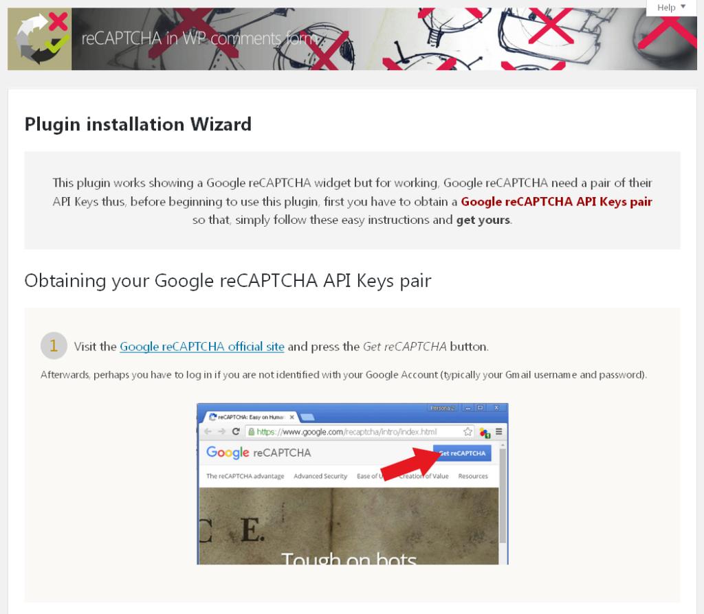 reCAPTCHA plugin setup wizard