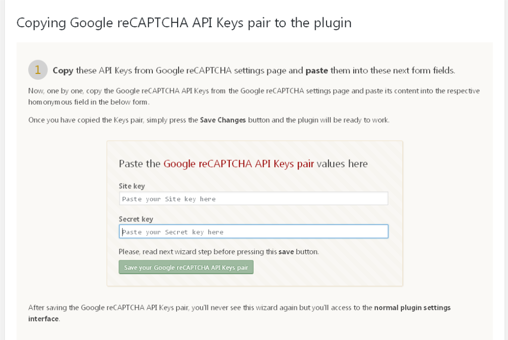 Screenshot of entering reCAPTCHA API Keys