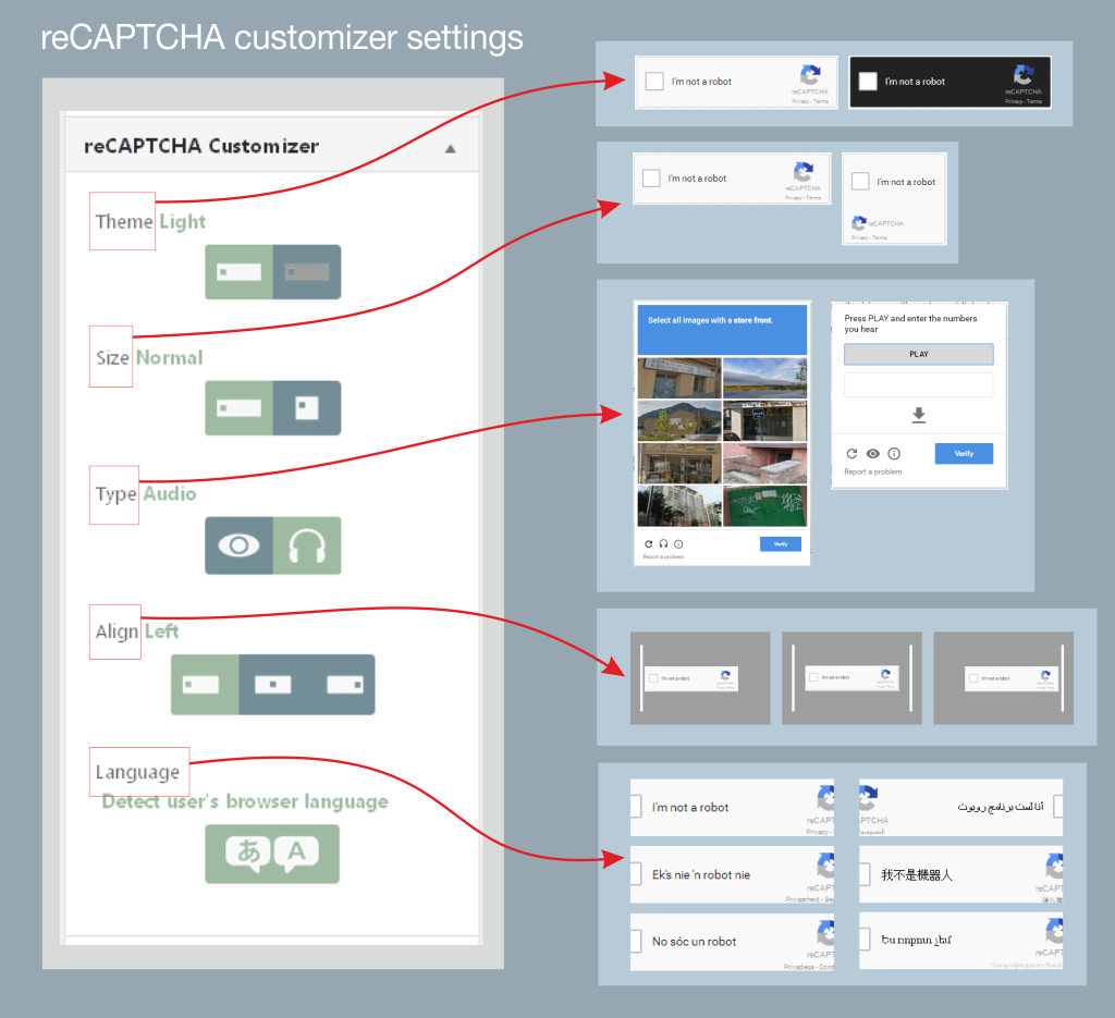 reCAPTCHA customizer in plugin settings screenshot