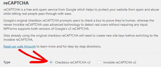 WPForms screenshot of reCAPTCHA settings