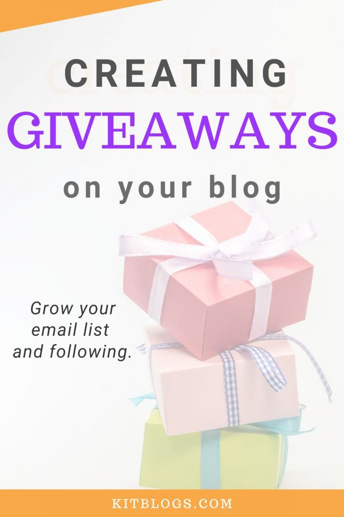 Creating blog giveaways on your blog Pinterest image