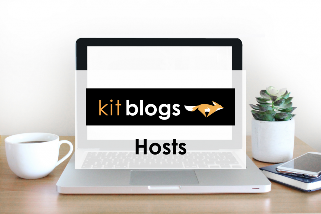 Recommended website hosts by KitBlogs with image of laptop, plant, and coffee cup