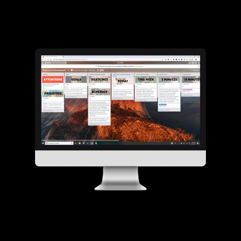 Trello Blog Planning Toolkit mockup on computer