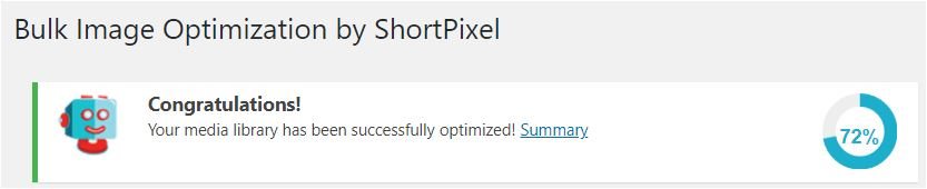 73% file size reduction using ShortPixel on a media library