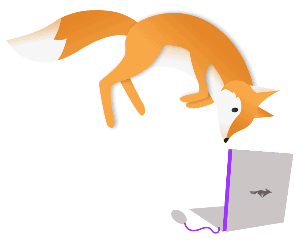 Fox jumping on top of a laptop (KitBlogs.com)