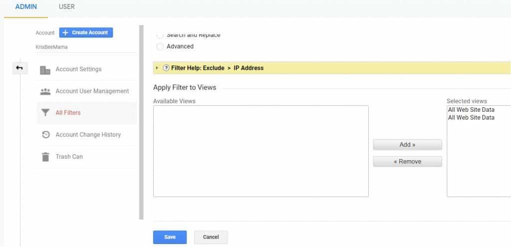 Google Analytics Filter all website data on kitblogs.com