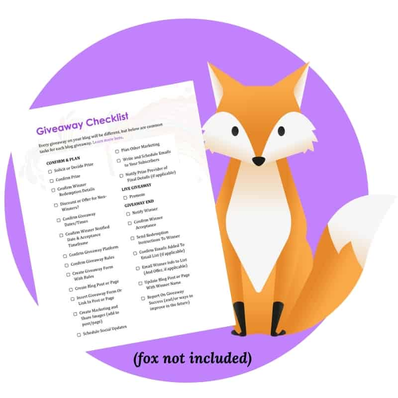 Fox next to the Giveaway Checklist by KitBlogs.com