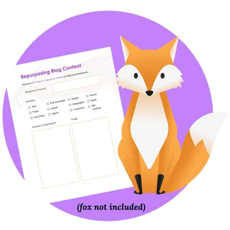 Fox next to Repurposing Content Worksheet on KitBlogs.com