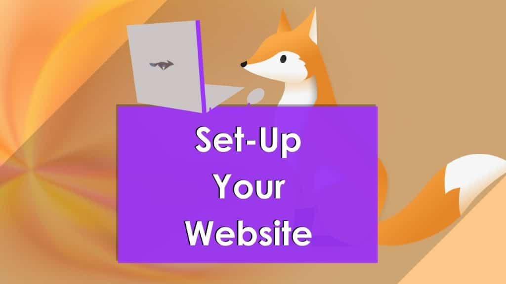 Set-Up Your Website with fox on laptop